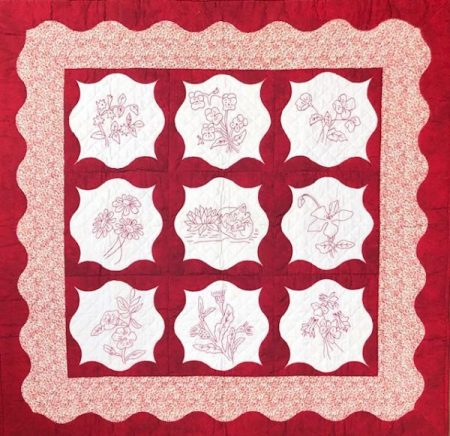 RedWork Frames Quilt by Sue Pelland and Elaine Nadeau